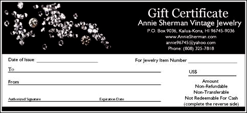 VINTAGE JEWELRY GIFT CERTIFICATES GIFT CARDS MAKE GIFT GIVING EASY – Sample Blank Gift Certificate Template