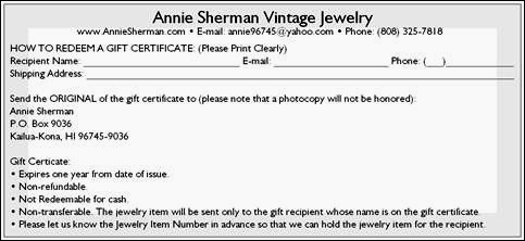 Vintage jewelry gift certificates gift cards make gift for Gift certificate terms and conditions template